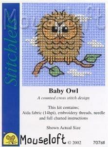 Mouseloft Baby Owl Stitchlets cross stitch kit